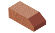 Shaped angled bricks: Plinth header brick red