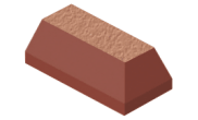 Shaped angled bricks: Plinth ext return brick red
