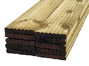 Decking accessories, components & kits: Treated decking boards 125mm x 32mm x 3m