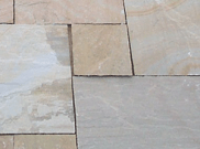 Natural stone paving / indian sandstone paving packs: Buff moss 10.2mtr2 natural stone paving kit