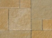 Natural stone paving / indian sandstone paving packs: Limestone yellow tumbled 15.25mtr2 natural stone paving pack