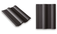 Roof slates tiles: Double roll top roof tile grey