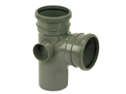 Soil pipe accessories: 92.5° double socket branch grey