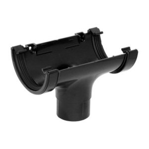 Guttering fittings: running outlet round black