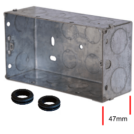 Metal Flush Box 2 Gang 47mm