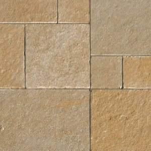 Natural stone paving: limestone yellow tumbled 15.25mtr2 natural stone paving pack