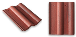 Double Roll Top Roof Tile Red