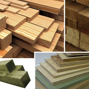 Planed, sawn, tanalised timber and sheet materials